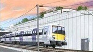 Artist impression of Crossrail train