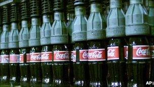Coca-Cola bottles in bottling plant