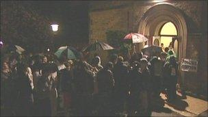 Queues outside polling station