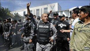 Police protest on the streets of Quito