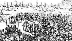 Drawing of William III leading the siege on the shores of Torbay