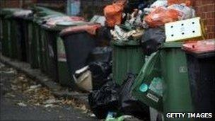 Rubbish piles in Leeds