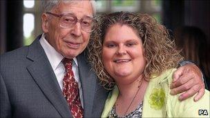 Prof Robert Edwards with Louise Brown (12 Sept 2008)