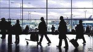 Passengers arrive at Luton airport