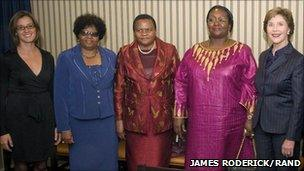 Former US First Lady Laura Bush standing with three first ladies from African countries and a RAND organizer