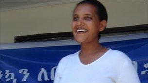 Birtukan Mideksa greeting supporters at her home