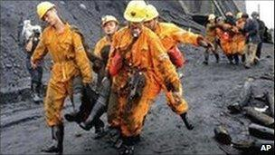 Rescuers at a Chinese coal mine, August 2008
