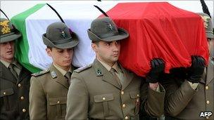 Italian Alpine troops carry the coffin of one of two comrades killed in Afghanistan on 17 May