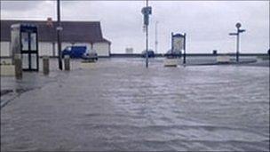 Water along the sea front at Llanfairfechan