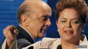 Jose Serra and Dilma Rousseff during their debate on TV on 10 October