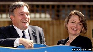 Shadow home secretary Ed Balls and his wife shadow foreign secretary Yvette Cooper