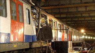 The devastated carriage at Aldgate