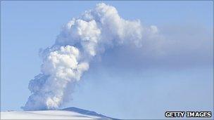 Smoke and ash billow from the Eyjafjallajökull volcano