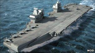 """Artist's impression of one of the Royal Navy""""s planned super aircraft carriers"""