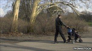 Man walks with a pram