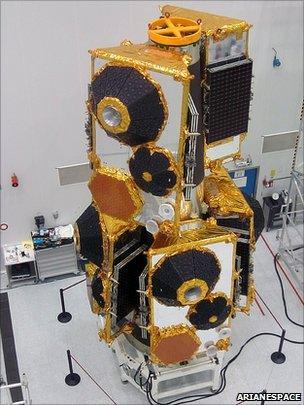 Six satellites on their dispenser (Arianespace)