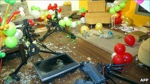 Damaged studio equipment at the offices of Scope TV (18 October 2010)