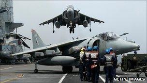 Harrier jet landing on the Ark Royal