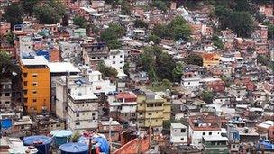 View of the houses dotting the hillsides in Rocinha