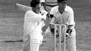 Bailey at the crease in 1953 against Australia