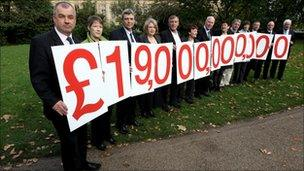 Union leaders on Tuesday, protesting against the tax payments they say have been avoided by UK banks