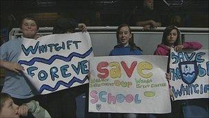 Whitgift school children protesting at the meeting