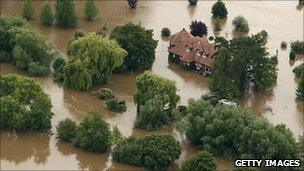 Flooded land by the River Severn (Getty)