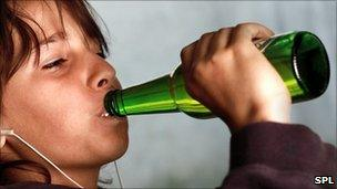 A child drinking alcohol
