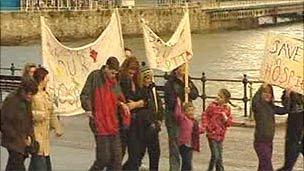 Protesters marched through the town and along the sea front