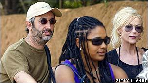 David Baddiel (l) and Morwenna Banks (r) with an unidentied person (centre)
