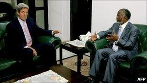 John Kerry meets Sudan's foreign minister, Ali Ahmad Karti, in Khartoum (24 October 2010)