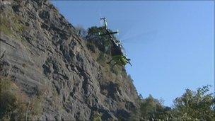 Air ambulance above the Avon Gorge