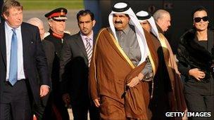 Sheikh Hamad bin Khalifa Al-Thani at Heathrow airport on Monday ahead of the formal visit