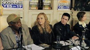 Danny Glover, Melissa Etheridge, Hal Sparks and marijuana legalisation advocate Sarah Lovering at a news conference 21 October, Los Angeles.