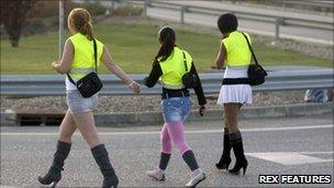 Prostitutes on the LL-11 near Lleida. Image: Rex Features