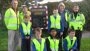 Rhayader school pupils joined Powys council and police to monitor drivers