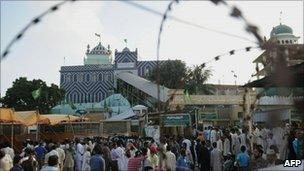 The shrine to Sufi Saint Abdullah Shah Ghazi, the target of an attack by twin teenage suicide bombers