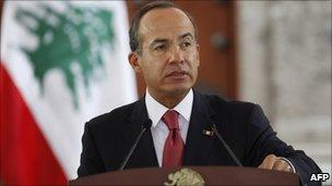 President Felipe Calderon in a file photo from September 2010