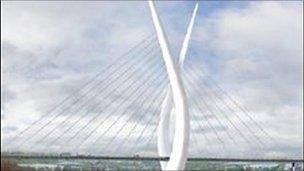 Artist's impression of bridge over the River Wear