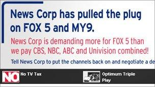Message on Cablevision website to its customers