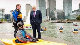 Mayor Boris Johnson with canoeists
