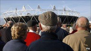 Pensioners on a tour of London's Olympic Park