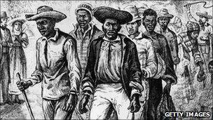 Slaves chained together in the United States in 1820