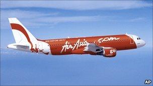 An Air Asia plane in flight