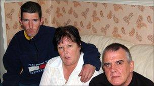 From left, Brian Barley (Steven's brother), Barbara Prosser (mother) and Brian Barley (Steven's father).