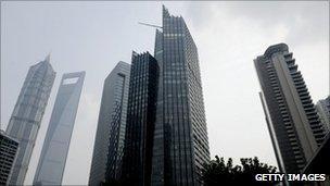 Financial district in Shanghai