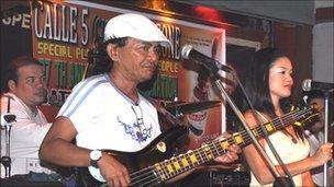 Band playing at Calle Cinco bar