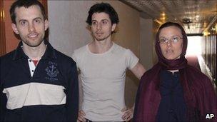 Shane Bauer, Josh Fattal, Sarah Shourd in Tehran, May 2010