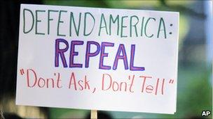 """Sign supporting a repeal of """"Don't ask, don't tell"""""""