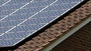Solar panels on a roof in Surrey